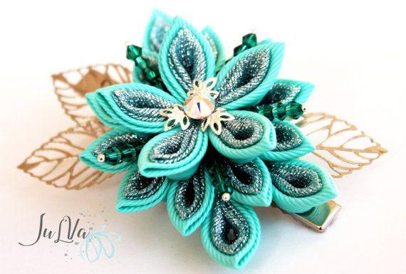 Pinza de pelo de flores de tela Kanzashi kanzashi aqua azul