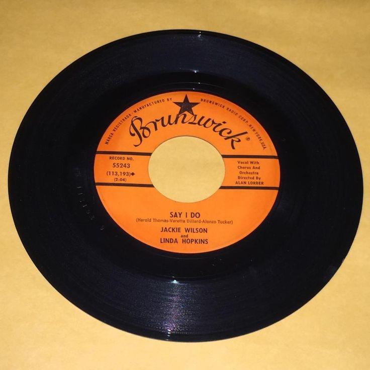 "Jackie Wilson And Linda Hopkins Shake A Hand Say I Do 45 rpm Brunswick Record 7"""