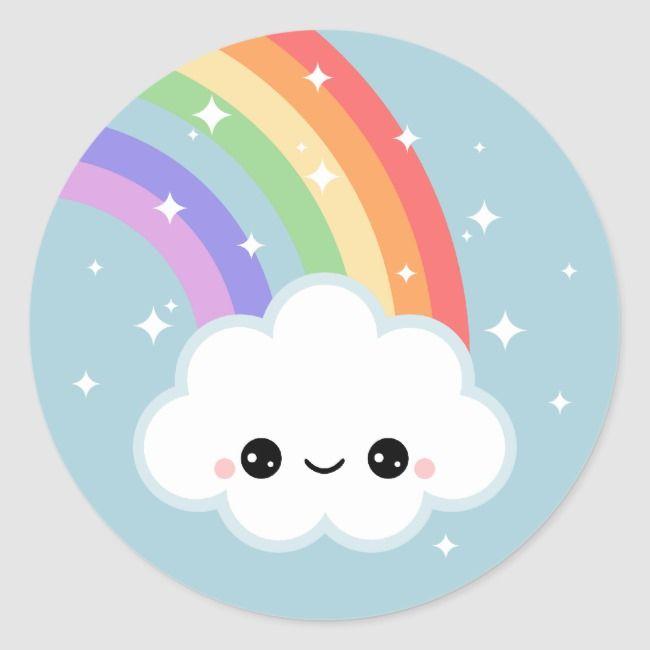 Kawaii Rainbow Cloud Classic Round Sticker Clouds Kawaii Cute Rainbows Sparkles Rainbow Drawing Rainbow Cartoon Cloud Stickers