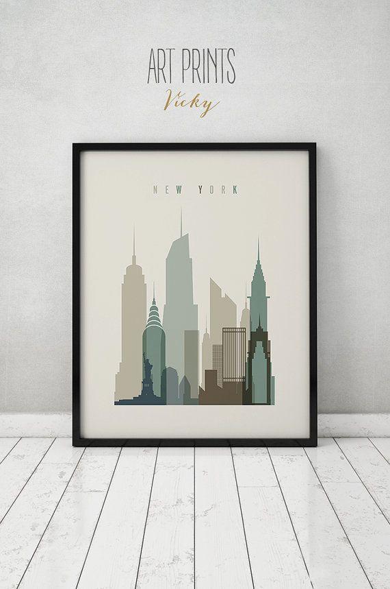Imprimer de New York affiche sticker ciel par ArtPrintsVicky