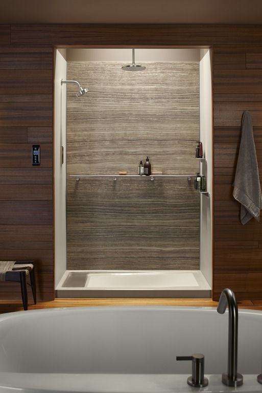 bring your shower into focus with a dramatic choreograph veincut wall