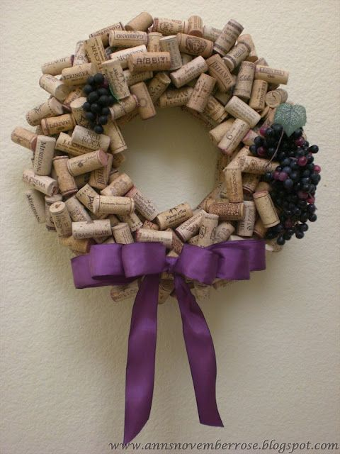 From The Ivy Cottage.  A craft idea for wine corks.  I would leave more natural, sans the plastic grapes.