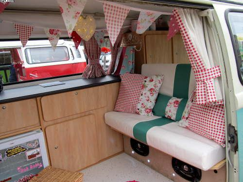 VW Camper- Van Interior at the Bradford VW car club in Piece Hall Halifax