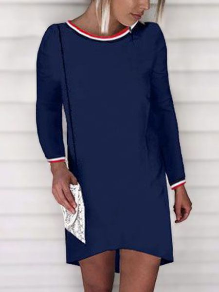 Navy Stripe Round Neck Long Sleeves Dress
