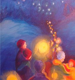 Beautiful paintings...the light that flows from us all to the stars above and beyond