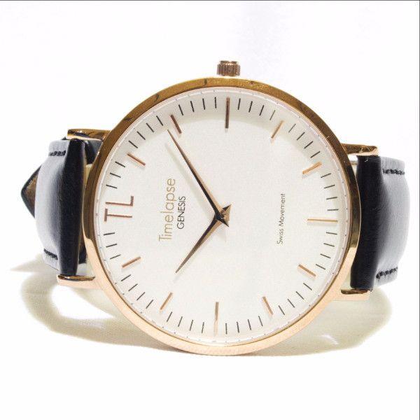 Genesis Launch Edition Unisex Rose Gold Watch - Black Italian Leather Strap