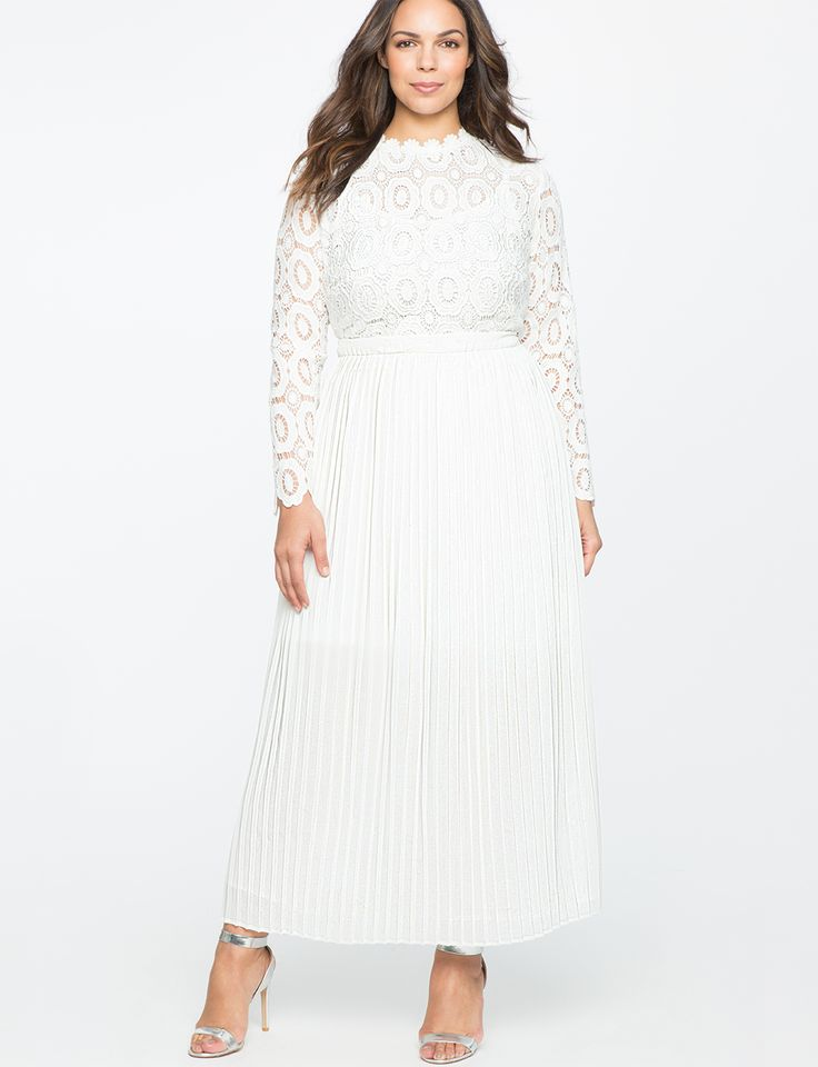 Lace Evening Dress with Pleated Skirt Whitetail