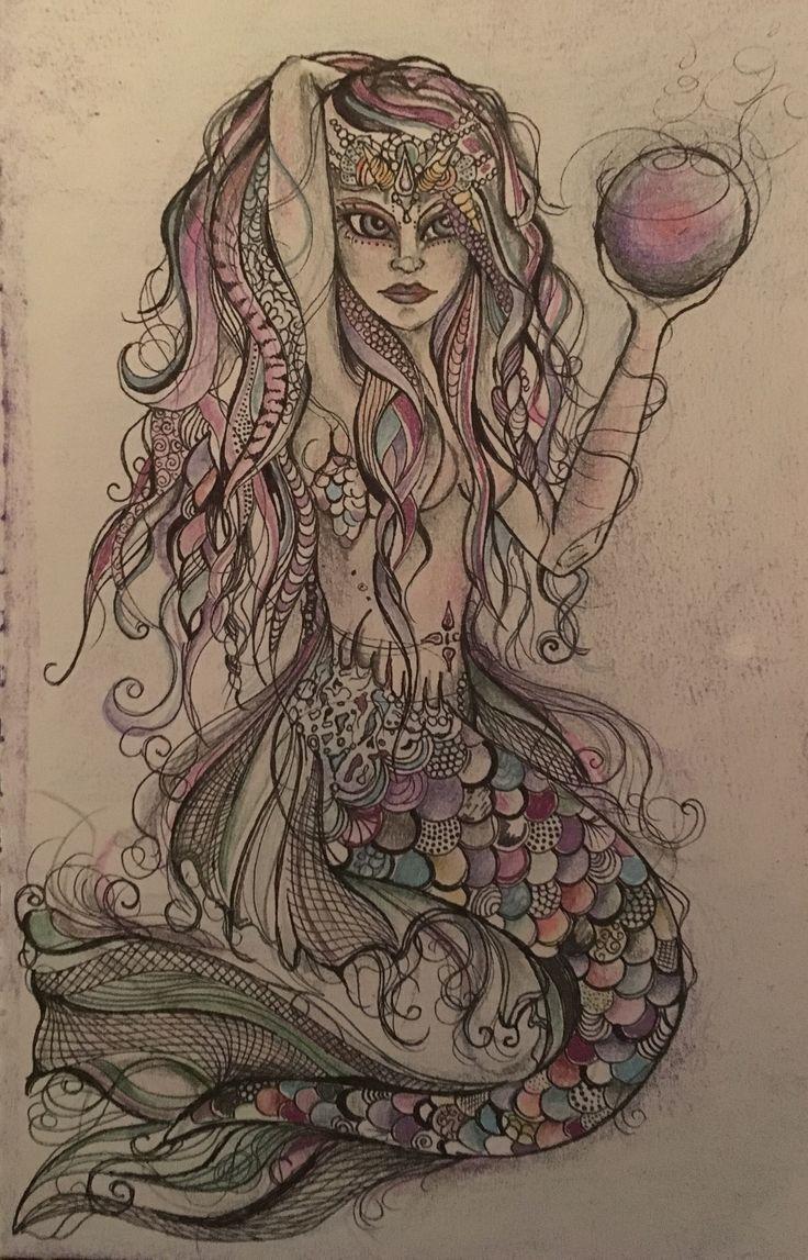 Mermaid artwork.