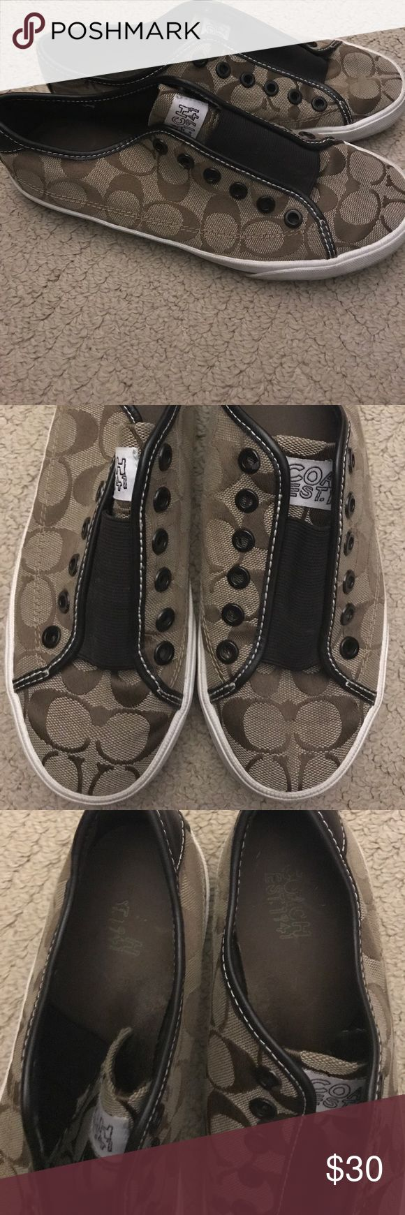 Coach Tennis Shoes 😻 Size 8 women's coach tennis shoes. Have seen some wear but still have some life left in them. Slip on and go! Coach Shoes Sneakers