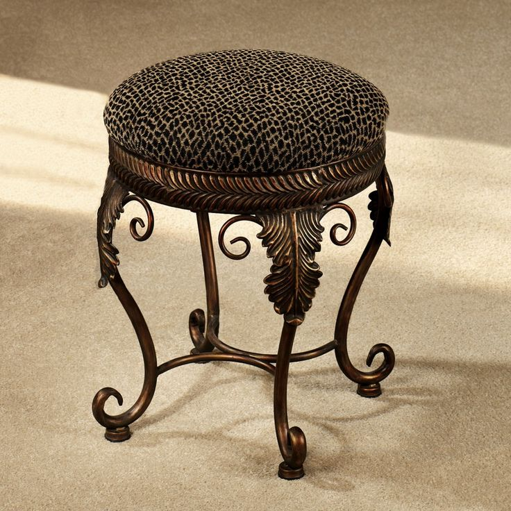 Bathroom Round Carved Brass Bathroom Vanity Bench Stool Circle Black Pattern Stool Cushion Single Make