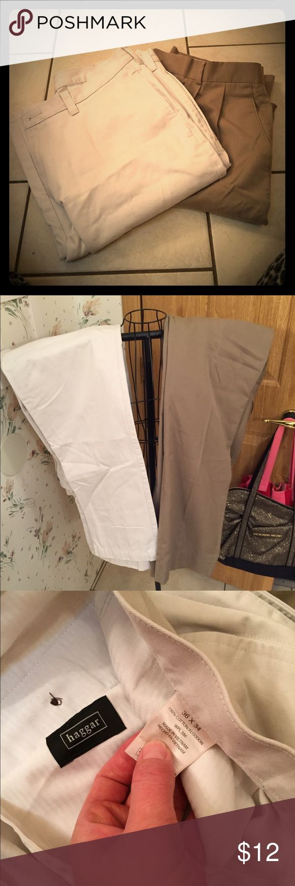 👖2 for 8 Men's khaki pants 2pair for $8 Men's khaki pants. Both worn a few times. In excellent condition. Both size 36/34. Haggar Pants Chinos & Khakis