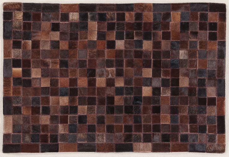 LEATHER PATCHWORK MOSAIC CHOCOLATE RUG - Brand News 2017 in 100% pure selected cowhide
