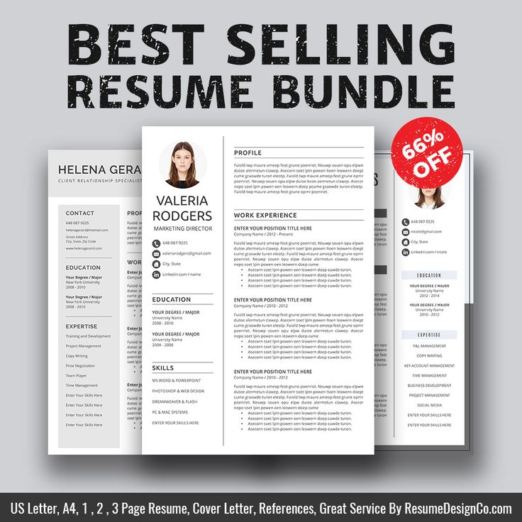 ► Best Selling Resume Bundle The Valeria B For Only $15 USD. Save 66% On Your Purchase Today! ► This best selling resume bundle includes 3 most popular & highest rated resume templates: The Valeria, The Helena, The Nicole. ( See listing photos ) ResumeDesignCo provides high quality and professional resume templates / CV templates with matching cover letter, extra experience template, references template, fonts guide, icons guide and easy-to-follow user guide that will help you stand ...