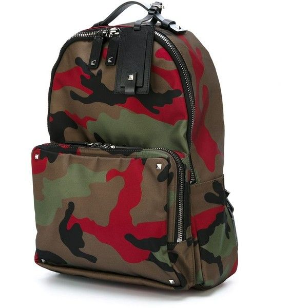 Valentino Garavani camouflage backpack Stefania Mode ($2,295) ❤ liked on Polyvore featuring bags, backpacks, camouflage backpack, camo bag, backpack bag, rucksack bag and camouflage bag