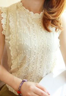 Peter pan collar chiffon shirt crotch cutout o-neck sleeveless scalloped lace chiffon shirt b37 basic $11.13