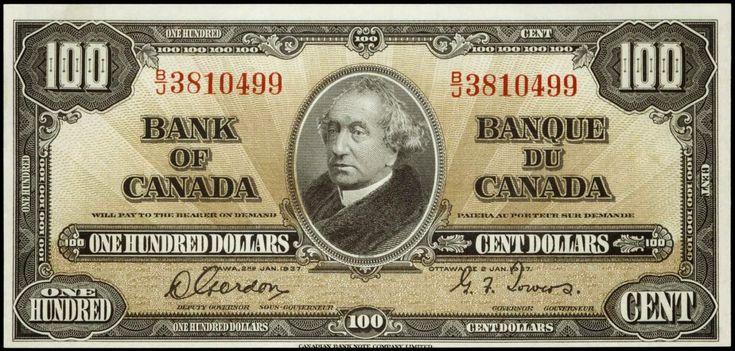 1937 Canadian 100 Dollar Bill
