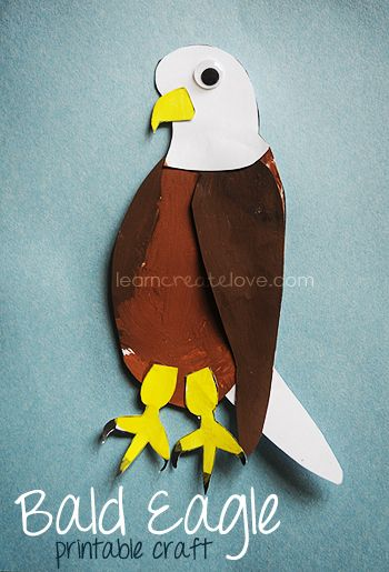 Craft for children: Printable Bald Eagle Craft  This site has lots of printable crafts