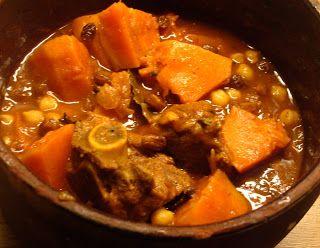 libyan food: Lamb, Pumpkin and Chickpea Stew with Raisins: Tbei...