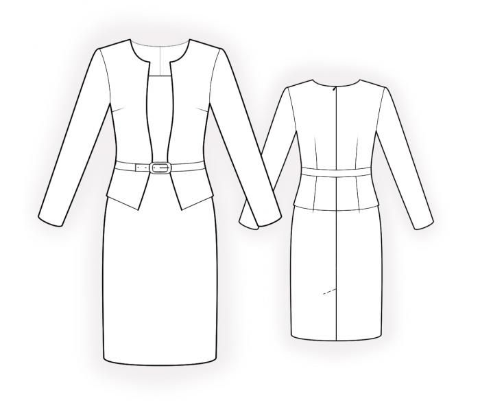 Dress And Jacket - Two In One  - Sewing Pattern #4487 Made-to-measure sewing pattern from Lekala with free online download. Fitted, Darts, Waist seam, Insets, Zipper closure, Basque, Jewel neck, Boat neck, No collar, Long sleeves, Set-in sleeves, Knee length, Straight skirt, No pockets