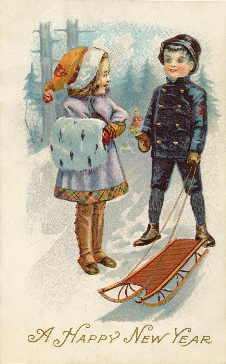A happy new year old postcard!