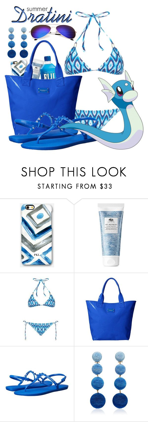 """Pokemon Beach: Dratini"" by freezespell ❤ liked on Polyvore featuring Rianna Phillips, Origins, Melissa Odabash, Seafolly, Havaianas and Rebecca de Ravenel"