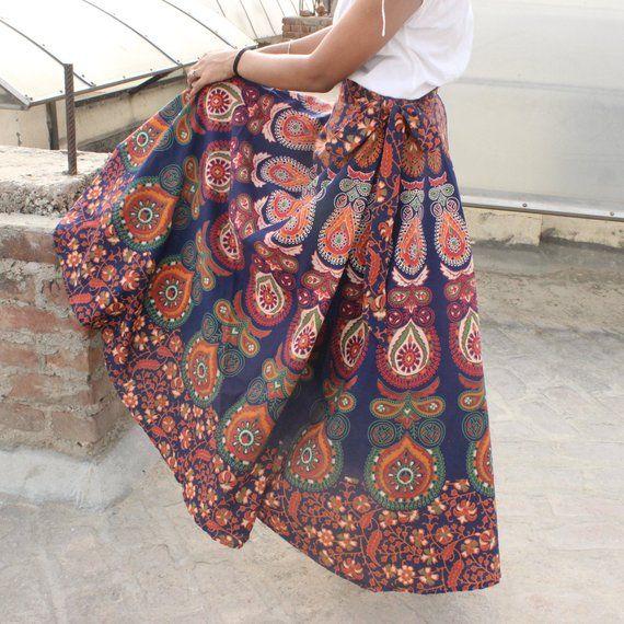 Indian Boho Skirt wrap skirt Boho Maxi skirts Mandala maxi skirt Bohemian skirt for women ethnic gyp