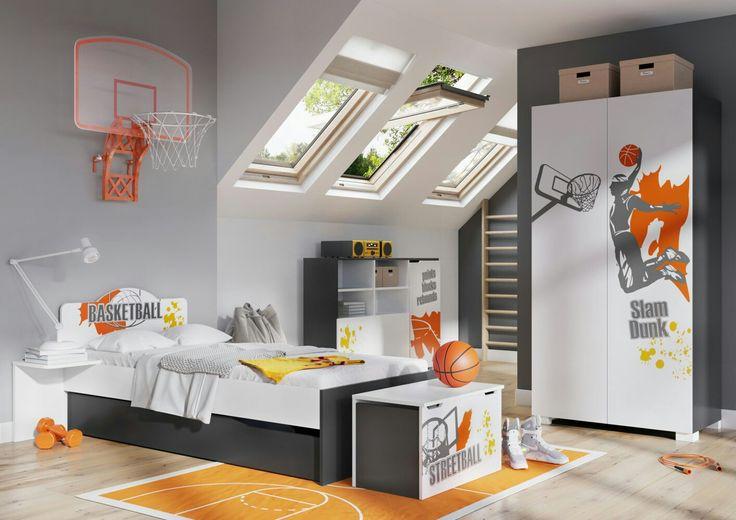 КоллекцияБаскет для комнаты мальчика-подростка от Меблик™  Модульная мебель из Польшы для комнаты подростка. Модули разных размеров позволят сформировать завершенный стиль в комнате любой площади и конфигурации. Коллекция представлена в белом матовом цвете, корпус мебели черного цвета