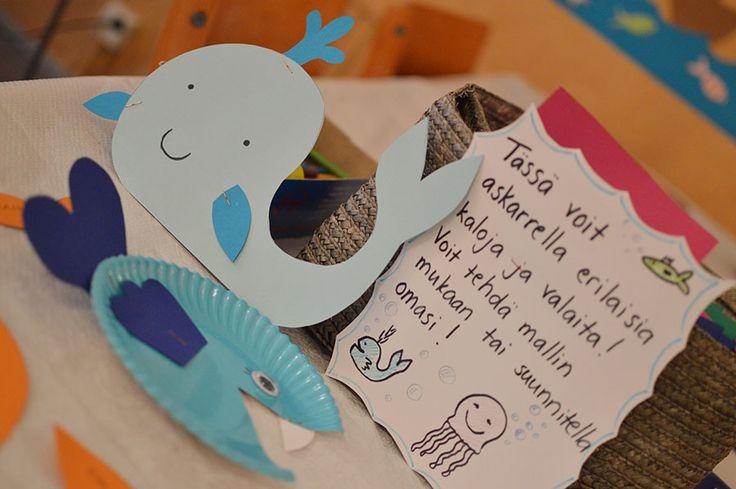 Askartelupajassa voi askarrella erilaisia kaloja ja valaita mallin mukaan tai suunnitella oman kalahahmon. Oulu (Finland)
