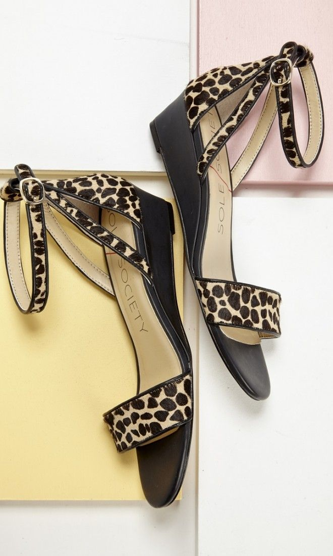 Leopard print mini wedge sandals with an ankle strap