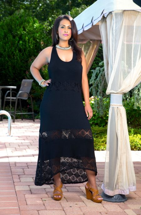 Trendy Crocheted Maxi Dress  Always For Me Cover Jersey Lace cover up dress - look close at midsection