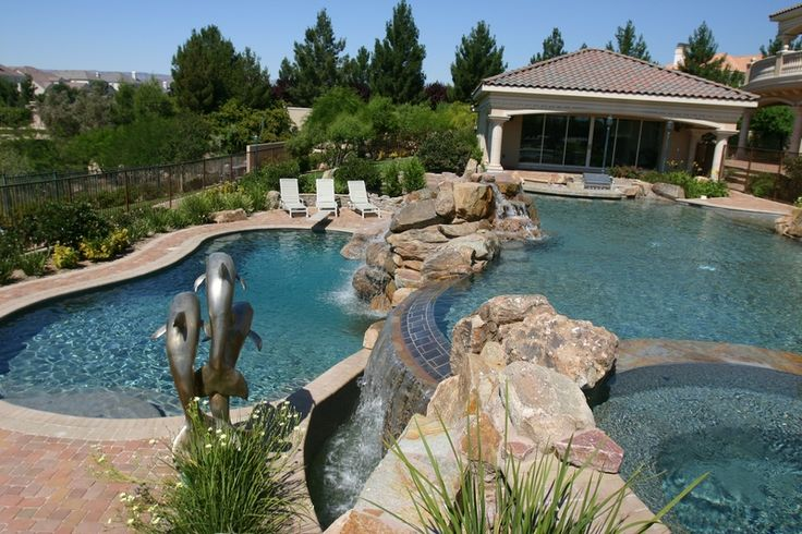 Multi Level Backyard With Pool :  river to grotto to beautiful backyard overflow pool with a view