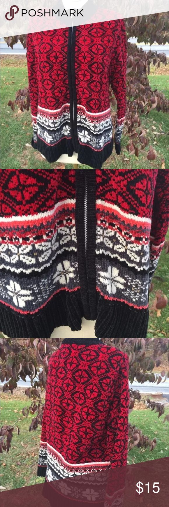 """Ugly Christmas Sweater Super Soft Cardigan Sky Size Petite small. Measures: shoulder to shoulder: 15"""". Pit to pit: 16"""". Bottom of the collar in the back to the bottom of the sweater: 23"""". Zippered front. Be sure to view the other items in our closet. We offer  women's, Mens and kids items in a variety of sizes. Bundle and save!! We love reasonable offers!! Thank you for viewing our item!! Designer Studio Originals Sweaters Cardigans"""