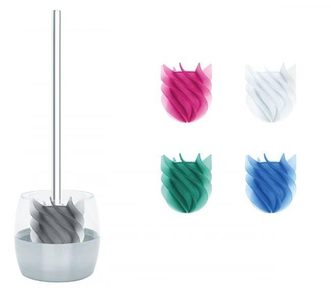 Die WC-Bürstengarnitur WATERCLOU ist die neue Generation der Klobürsten mit einem Kopf aus flexiblen Silikonlamellen. Sie ist hygienisch,  leicht zu reinigen und schmutzabweisend und steht so für höchste Sauerkeit. Zudem ist der Bürstenkopf sehr langlebig und strapazierfähig. Die Produkte der Serie Waterclou sind farbecht und verträglich mit handelsüblichen WC-Reinigern. Der Bürstenbehälter CLOBO ist aus transparenten Polystyrol und Edelstahl. Wählen aus 5 Farben und 2 Stielen.