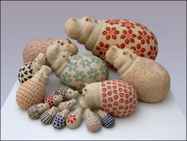 sculptures d'hippopotames pour le jardin