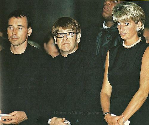 David Furnish and Elton John with Princess Diana