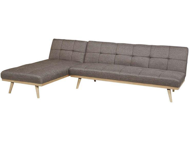 Canapé d'angle convertible et réversible 4 places en tissu MAJA coloris taupe - Vente de Tous les canapés - Conforama