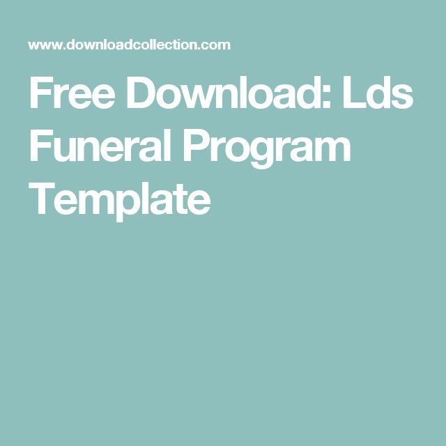 Free Download: Lds Funeral Program Template