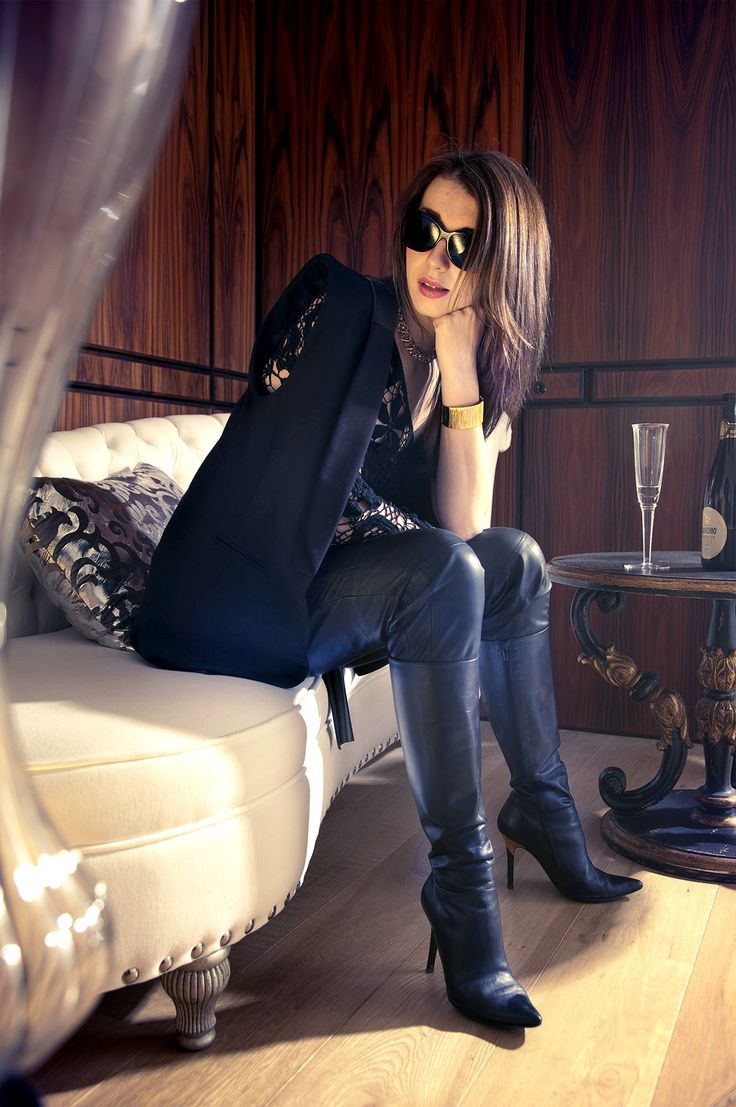 "goddesstasha: "" booted up Goddess Tasha Only High Heels "" Blogger Justyna Strzeszynska. Top – The Loft Market, Sleevelees jacket – Topshop. Leather trousers – Reiss. Boots – L.K. Bennett. Vintage necklace and leather belt"