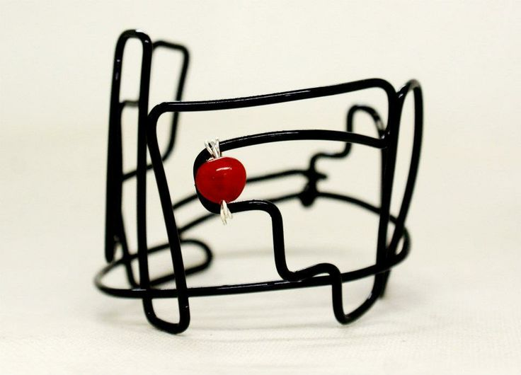 "Freeform Bracelet with Jumbie Bead ""aMaze-Zing"" by Olivia Fern.  http://oliviafern.tumblr.com https://www.facebook.com/OliviaFernStudio"