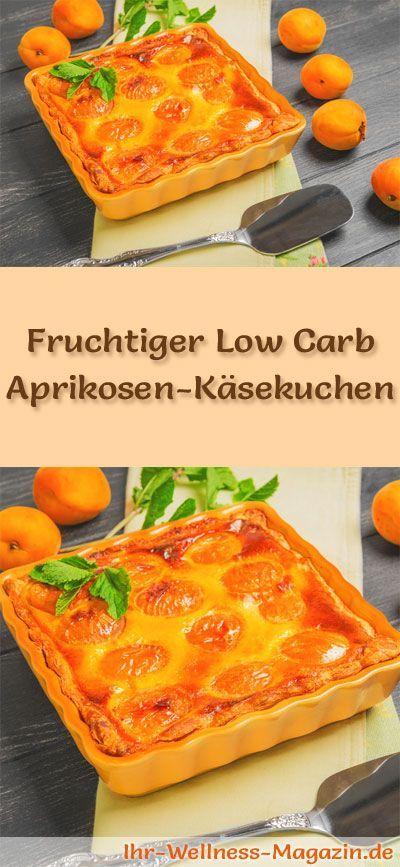 Rezept für einen fruchtigen Low Carb Aprikosen-Käsekuchen -kohlenhydratarm, kalorienreduziert, ohne Zucker und Getreidemehl
