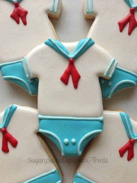 Sailor Baby cookies 24cookies by SugarySweetCookies on Etsy, $72.50