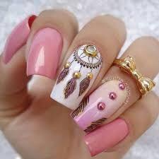 Resultado de imagen para uñas decoradas con atrapasueños y plumas