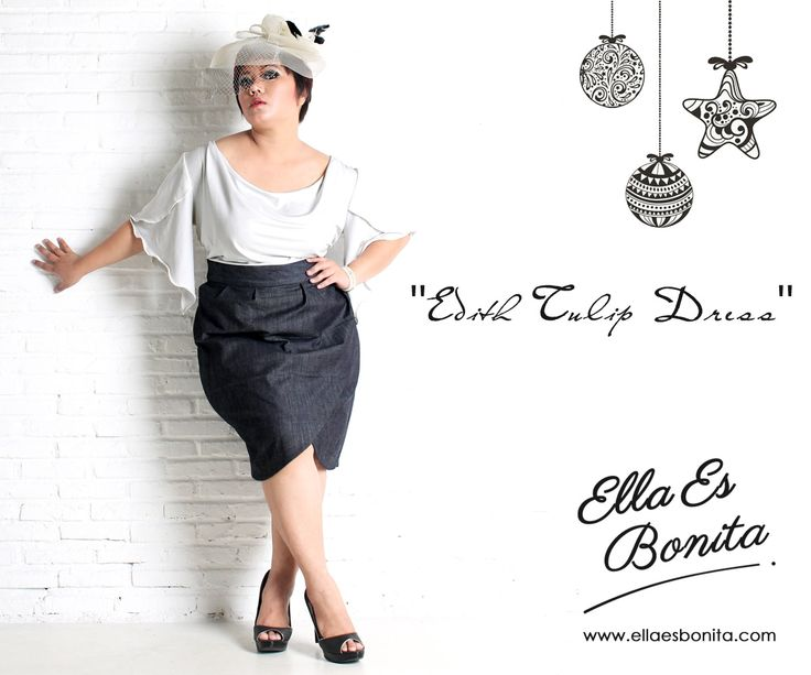 Edith Tulip Dress - This vintage dress features high quality jersey for the top and stretch denim for the skirt which specially designed for sophisticated curvy women originally made by Indonesian Designer & Local Brand: Ella Es Bonita. Available at www.ellaesbonita.com