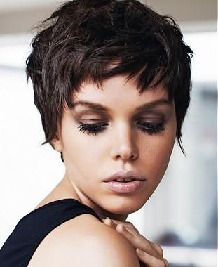 A Short Black straight choppy defined-fringe shortfringe womens haircut hairstyle by Jean Claude Aubry