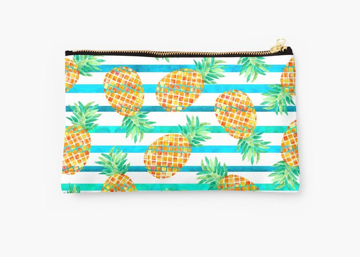 Watercolor Pineapples and stripes. Watercolor and digital. • Also buy this artwork on bags, apparel, stickers, and more. Pineapple watercolor pattern. Inspired by summer and nature. @redbubble #pineapple #fruit #orange #floral #botanical #fashion #watercolor #redbubble #studiopouch