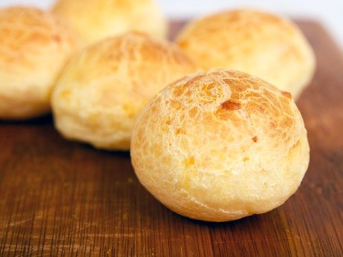 Pao de Queijo.  Little balls of cheese-flavored bread from Brazil.