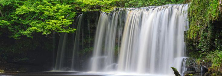 The Upper Ddwli Falls or Sgwd Ddwli Uchaf in Welsh, a waterfall on the Nedd Fechan River in the Brecon Beacons near Pontneddfechan