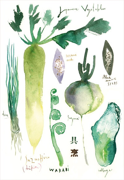 Japanese vegetables watercolor Flat card by lucileskitchen on Etsy