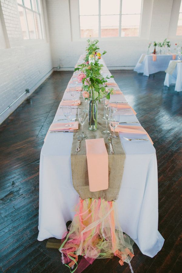 burlap runners made a bit more modern with neon ribbon embellishments  Photography by laurenfairphotography.com, Floral Design by liliesandlavender.com