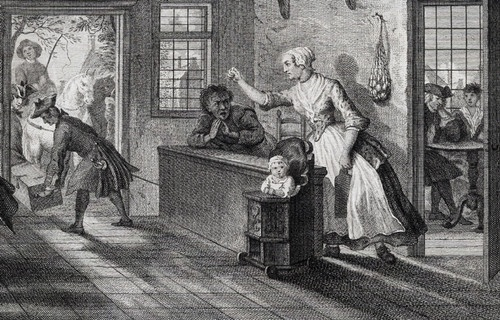 DETAIL from 'De Puiterveensche helleveeg, aan de tap - La Mechante Cabaratiere, a Puiterveen.' (The hell-quarelling lady from Puiterveen at the bar.) Plate by P. Tanje after Cornelis Troost, published c.1811